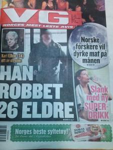 Forsiden av dagens VG